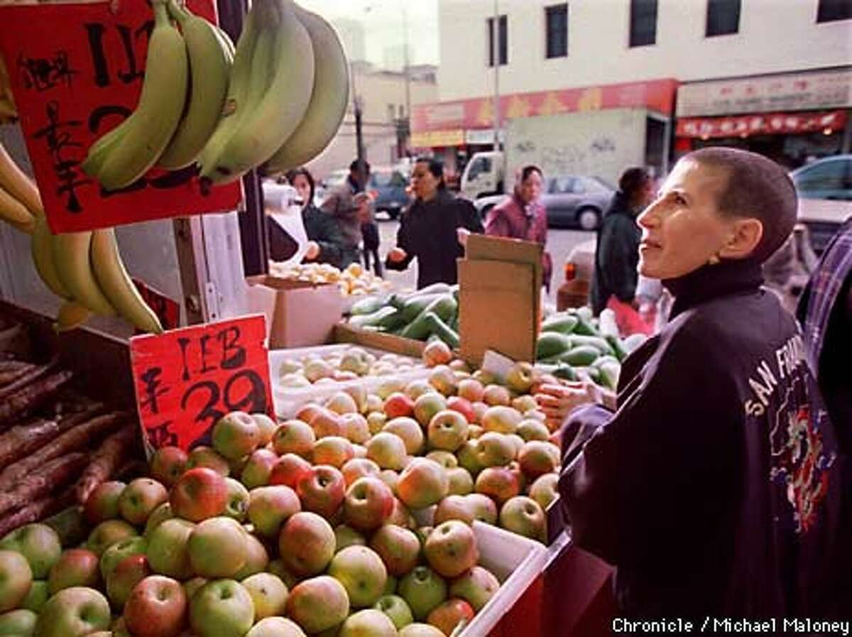 Tropp chooses ingredients in San Francisco's Chinatown for the Asian diet she has eaten for 20 years. Chronicle Photo by Michael Maloney