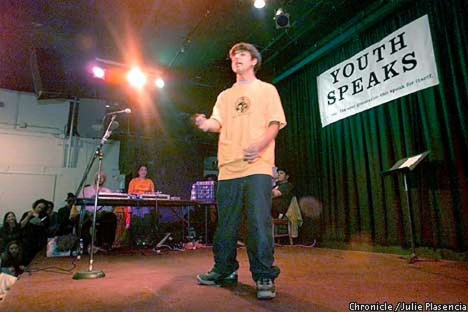 Daniel Palou recites his rythmical poetry to a full house at the fifth annual Youth Speaks Teen Poetry Slam at La Pena Cultural Center in Berkeley.  (JULIE PLASENCIA/SAN FRANCISCO CHRONICLE) Photo: JULIE PLASENCIA