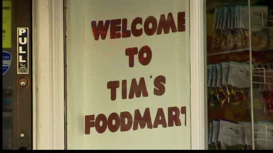 Tim's Food Mart in Derby was robbed by a knife-wielding man early Wednesday, Feb. 1, 2012. Photo: WTNH News 8