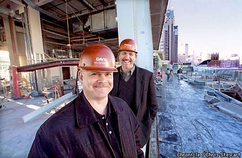 David Spencer (F) and Trevor Bryant are the driving force behind the Sony Corporation development of Metreon, a new and unique entertainment complex to open in Spring of 1999 at Yerba Buena.  BY CHRIS STEWART/THE CHRONICLE Photo: CHRIS STEWART