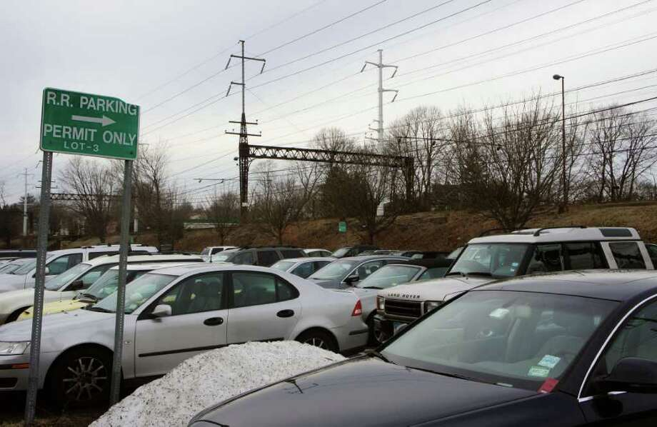 Cars fill the permit spaces in Lot 3 of the Saugatuck Metro-North train station on Thursday, Feb. 2, 2012. Photo: Paul Schott / Westport News