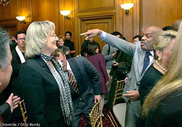 Mayor Willie Brown pointed to Theresa Sparks amid well-wishers at her swearing-in ceremony. Chronicle photo by Chris Hardy
