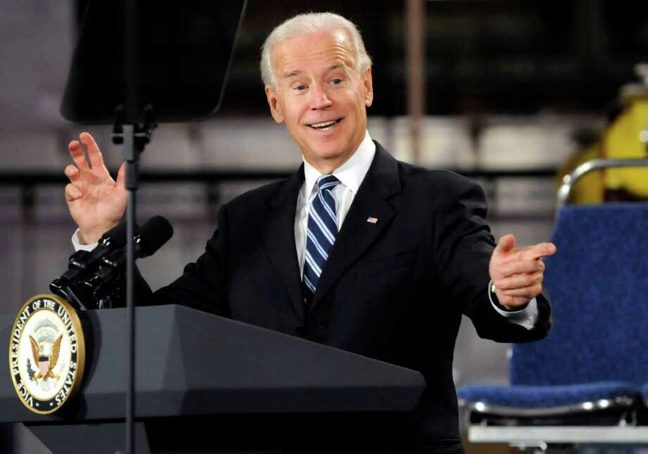 Vice President Joe Biden speaks in Michigan. Biden has been effusive lately as to how the president has backbone. Bin Laden's killing and the rescue of aid workers in Somalia are proof, Biden says. Photo: Chris Clark, Associated Press