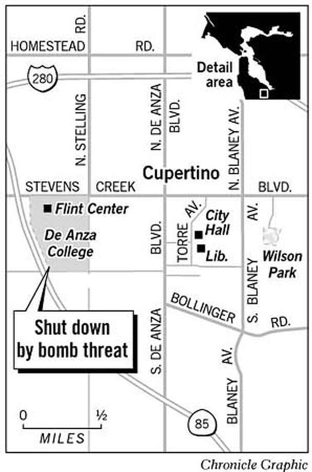 De Anza College Shut Down By Bomb Threat. Chronicle Graphic