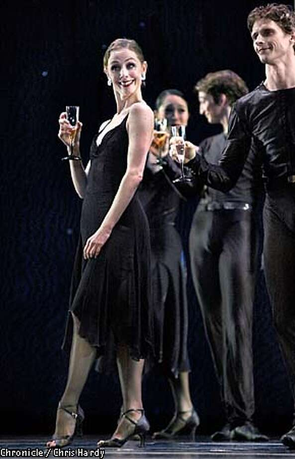 """Julia Adam sipped a bit of the bubbly in San Francisco Ballet's  """"Black Cake."""" Chronicle photo by Chris Hardy"""