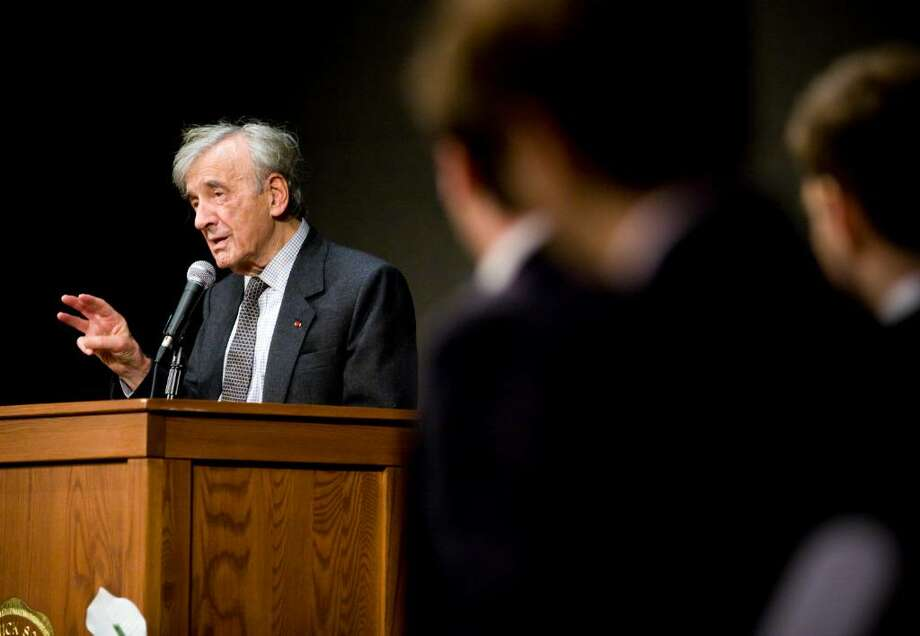 Nobel Laureate and Holocaust survivor Elie Wiesel speaks to students at Brunswich School. Photo: Kerry Sherck / Greenwich Time Freelance