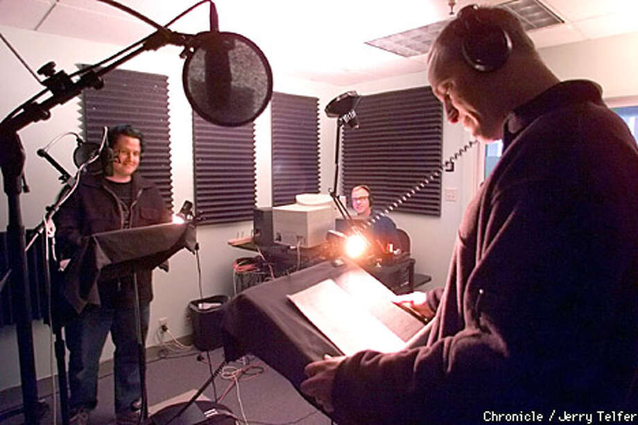 R.J. Eleven (left) and Aubrey Ankrum (right) did a voice-over with engineer Jim Lively at Mondo Media. Chronicle photo by Jerry Telfer