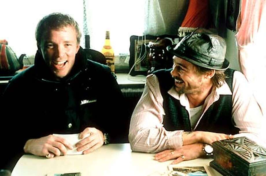 "Director Guy Ritchie with ""Snatch"" star Brad Pitt"
