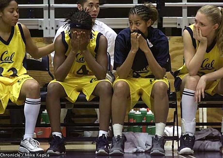 Kenya Corley (4) and the other Golden Bears had a tough time watching the end of their 63-56 loss to Stanford. Chronicle photo by Mike Kepka