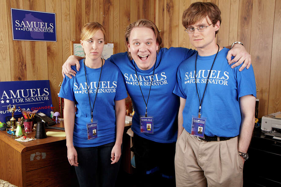 """In this image released by Hulu.com, from left, Lindsey Payne, Jordan T. Maxwell and Ben Samuel portray campaign workers in  """"Battleground,"""" a mock documentary about a third-place political candidate in Wisconsin. After years of drips and drabs of experimentation, the top video destinations on the Web are flush with original projects and teaming with a new wave of niche-oriented content creators. Photo: AP"""