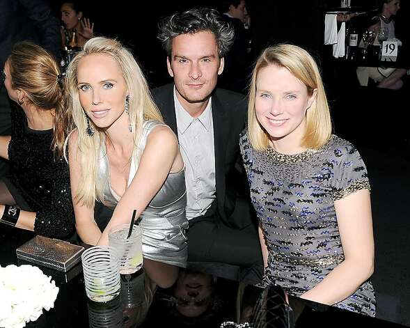 Vanessa Getty (at left) with actor Balthazar Getty and Google exec Marissa Mayer at the Numeros Prives event in Las Vegas. Jan 2012. By Bill Farrell Agency. Photo: Bill Farrell Agency, Special To The Chronicle