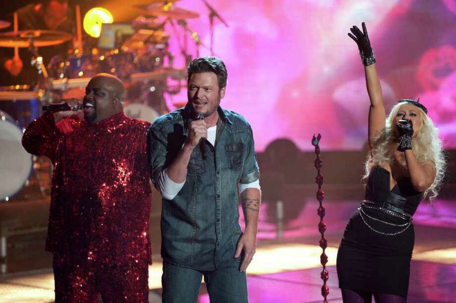 "Cee Lo Green,  Blake Shelton, Christina Aguilera perform on ""The Voice."" Photo: Lewis Jacobs, Lewis Jacobs/NBC / ? NBCUniversal, Inc."
