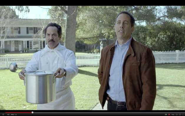"A screengrab taken from YouTube on Thursday, Feb 2., shows the Acura commercial set to air Super Bowl Sunday, Feb. 5, 2012. In it, Jerry Seinfeld tries to be the first to get a new Acura NSX and tries to bribe his way with such things as The Soup Nazi character from the ""Seinfeld"" TV show. (Times Union)"