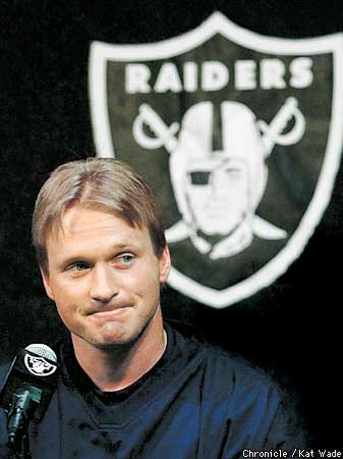 Oakland Raider's coach Jon Gruden held a press conference at the Raider's headquarters in Alameda Monday after losing the Playoff game to the Biltimore Ravens on Sunday January 14, 2001.  (KAT WADE/SAN FRANCISCO CHRONICLE) Photo: KAT WADE