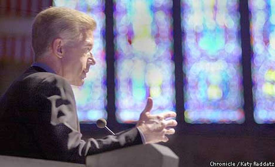 Photo by Katy Raddatz-The Chronicle  Memorial services at Grace Cathedral for Alan Cranston. SHOWN: Gov. Gray Davis speaks, with the lovely leaded glass windows making him appear downright biblical. Photo: KATY RADDATZ