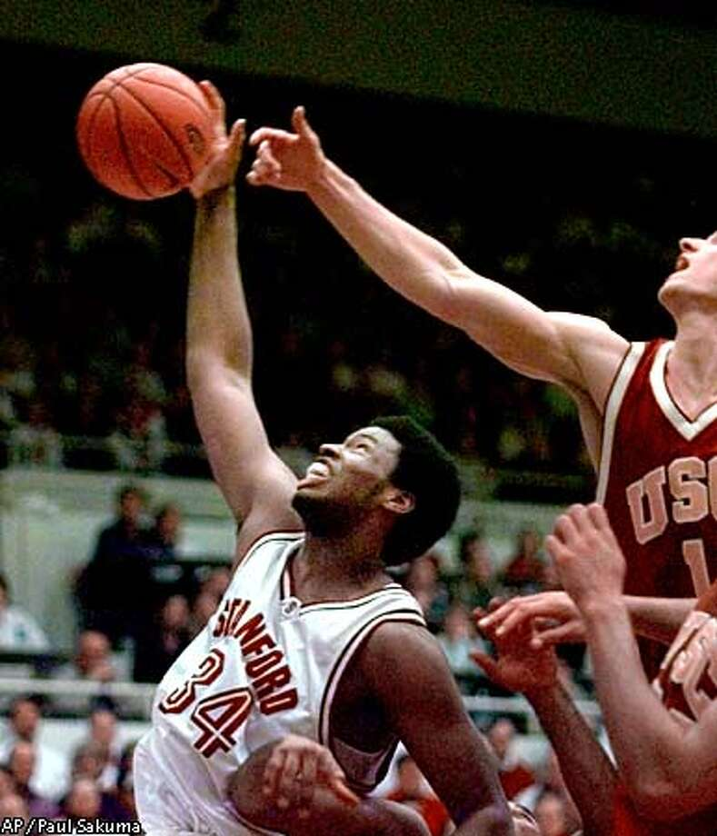 Stanford's 7-foot center Jason Collins averages 12.7 points and 8.8 rebounds and, according to Cal coach Ben Braun, has no weaknesses. Associated Press photo by Paul Sakuma
