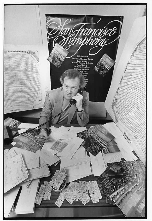 After the construction of Davies Symphony Hall and the San Franisco Symphony's expansion to a year-round season in 1980, even Music Director Edo de Waart lent a hand, answering phones and selling subscriptions for the 1982-1983 season Photo: San Franciso Symphony