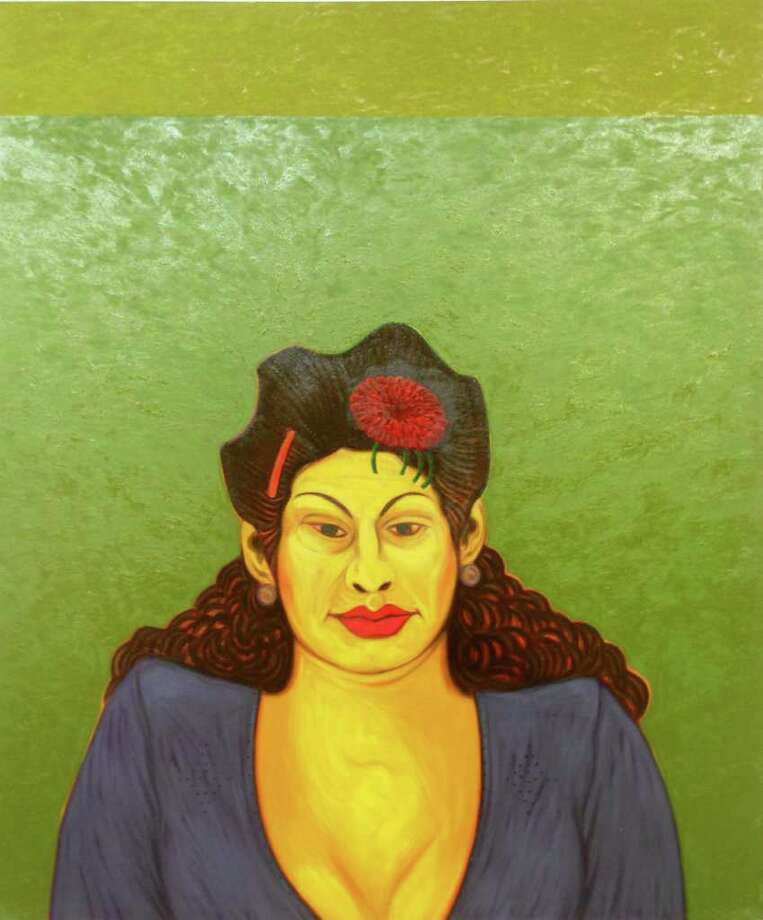 """San Antonio painter Cesar Martinez's """"La Chata"""" is on view at the Central Library in """"¡Viva San Antonio! Works from the Collection of Guillermo Nicolas."""" Photo: Courtesy Of The Artist"""