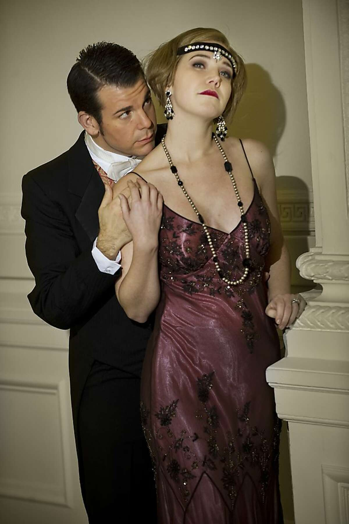 MARCO PANUCCIO as Jay Gatsby and SUSANNAH BILLER as Daisy Buchanan in Ensemble Parallele's 2012 production of The Great Gatsby. MARCO PANUCCIO as Jay Gatsby and SUSANNAH BILLER as Daisy Buchanan in Ensemble Parallele's 2012 production of The Great Gatsby. Photo: Steve DiBartolomeo, Westside Studio Images http://www.westsidestudioimages.com