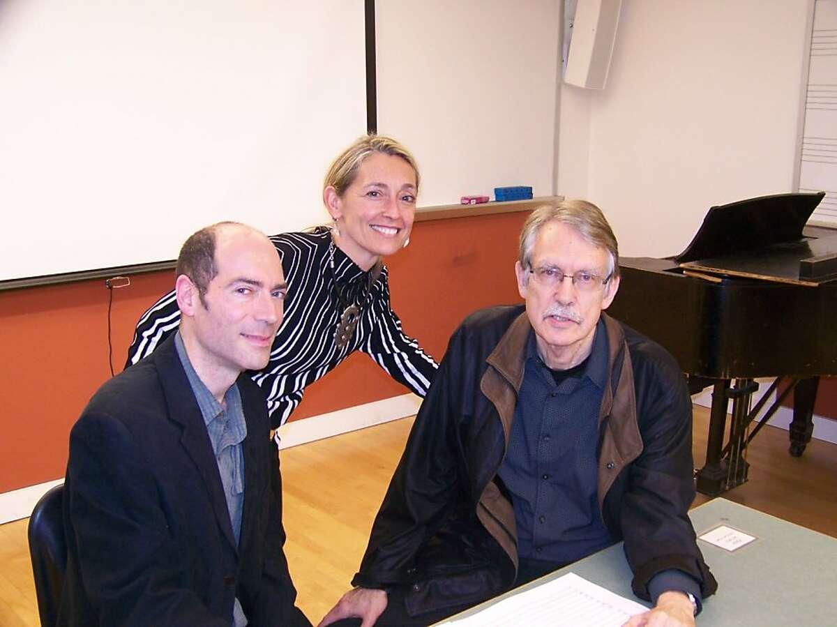"Ensemble Parallele's ""The Great Gatsby."" composer John Harbison (left), director Nicole Paiement and chamber version composer Jacques Desjardins."