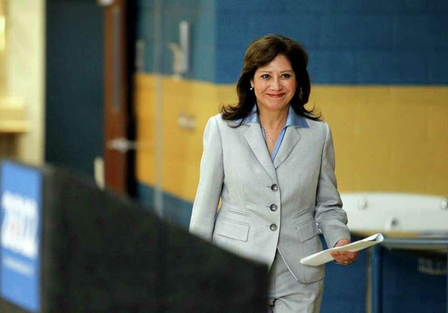 Secretary of Labor Hilda Solis speaks before a Nevada democratic caucus Saturday, Jan. 21, 2012, in North Las Vegas, Nev. (AP Photo/Isaac Brekken) Photo: Isaac Brekken / FR159466 AP