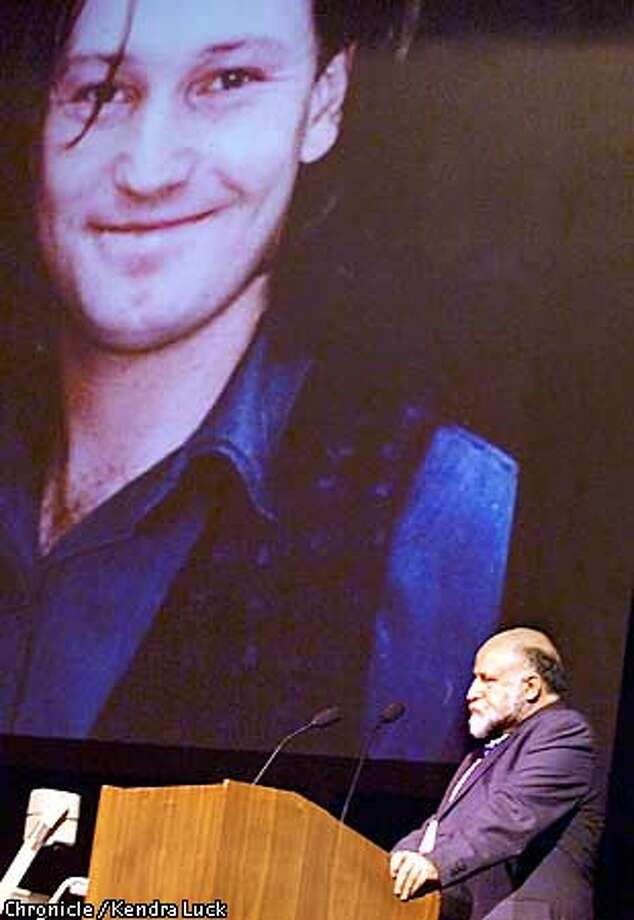 Dr. Tony Trimingham and a photo of his late son Damien. Trimingham founded the Family Drug Support Group in Australia after his son, Damien died of a heroin overdose. Trimingham spoke at the Harm Reduction Conference at the Herbst Theater. (KENDRA LUCK/SAN FRANCISCO CHRONICLE) Photo: KENDRA LUCK