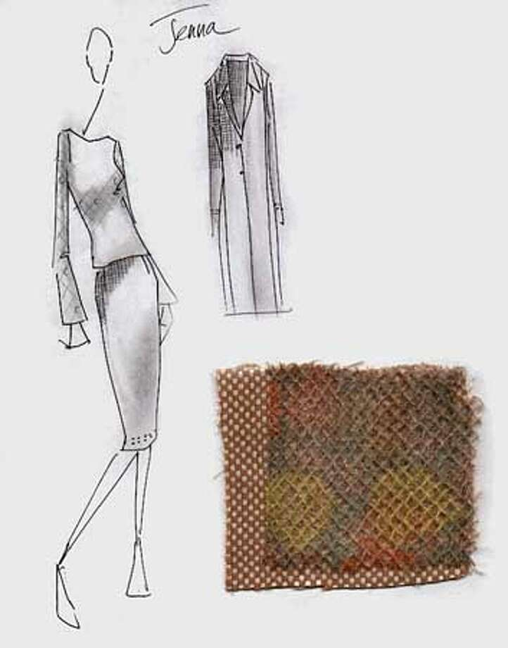 This is a sketch by Lela Rose for Jenna Bush's inaugural ceremony desings. Camel/bone cashmere checkerboard duster coat; camel/bone cashmere straight skirt with moss stitich detail at hem; moss green/sherbet dot cashmere/wool knit longsleeve top  HANDOUT Photo: HANDOUT