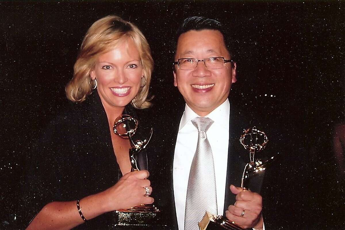 Ben Fong-Torres and Julie Haener with the first Emmy Awards they won for co-anchoring the San Francisco Chinese New Year Parade broadcast.