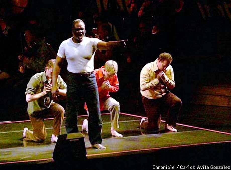"(l-r) Bass baritone, Willard White, front, and Daniel Bubeck, Brian Cummings and Steven Rickards (cq), rear l-r, in the first North American appearance of John Adams's, ""El Ni�o,"" conducted by Kent Nagano, at Davies Symphony Hall in San Francisco, Ca.  (CARLOS AVILA GONZALEZ/SAN FRANCISCO CHRONICLE) Photo: CARLOS AVILA GONZALEZ"