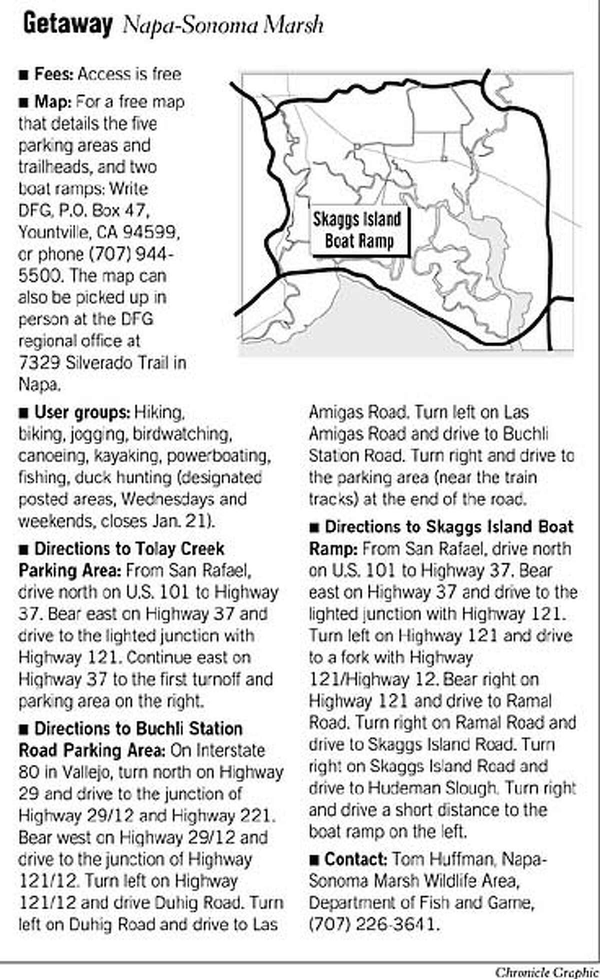 Getaway: Napa-Sonoma Marsh. Chronicle Graphic