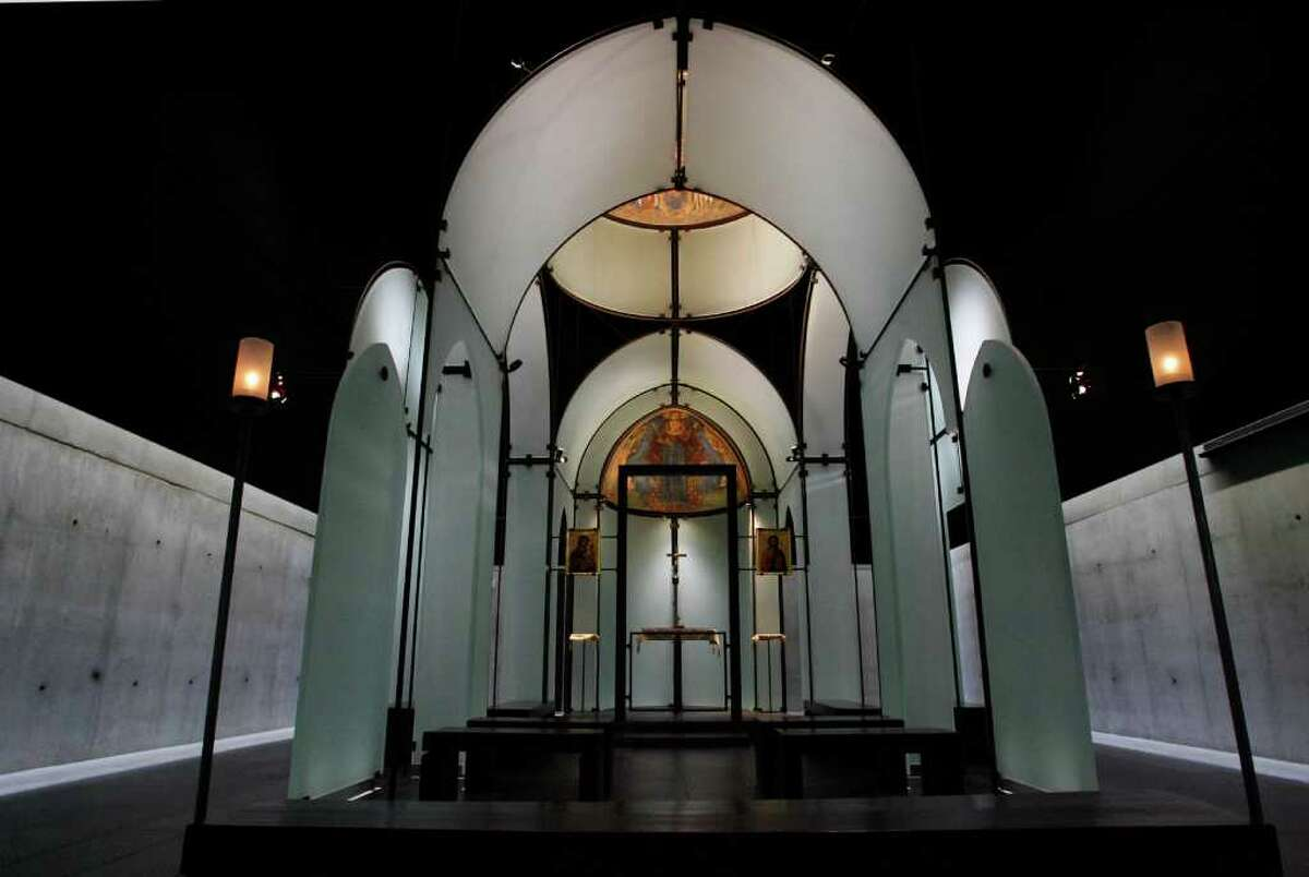 The glass walls hold the two frescos inside of the Byzantine Chapel, Thursday, Sept. 27, 2007. The Chapel is the only repository in the United States with intact Byzantine frescoes in the entire western hemisphere. These masterworks from the 13th century -- a dome and an apse -- were ripped and stolen out of a chapel near Lysi in Cyprus in the 1980's, cut into pieces, and smuggled off the island by thieves prepared to sell them piece by piece. The fresco fragments were rescued from the thieves by The Menil Foundation with the knowledge and approval of the Church of Cyprus, the rightful owner of the frescoes. ( Karen Warren / Chronicle)