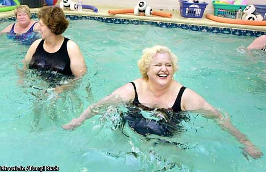 "Bonnie Bernell (center) performed ""aqua aerobics"" with Paula Johnson (left) and Olivia Deubert (right) at the Women of Substance fitness center. Chronicle photo by Darryl Bush"