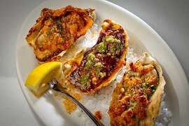 Trio of Oysters at Brenda's French Soul Food Restaurant in San Francisco, Calif., is seen on Friday, January 20th, 2012. Left to right; the Tchoupitoulas, the Orleans, and the Casino.