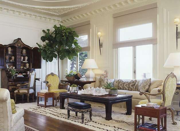 Suzanne Tucker designed the living room of  an Italian Renaissance-style mansion in Pacific Heights with a blend of traditional and eccentric furnishings. Photo: Matthew Millman