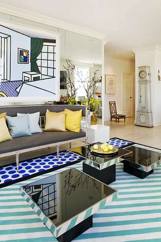 Martha Angus' Nob Hill living room was inspired by a Roy Lichtenstein lithograph. Photo: Peter Medilek Inc.