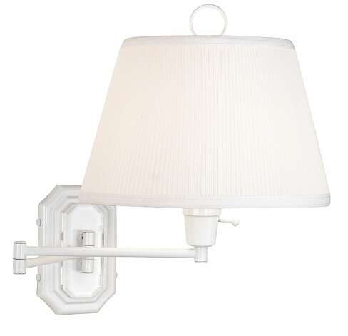 White swing-arm lamp by Lamps Plus. Photo: Restoration Hardware
