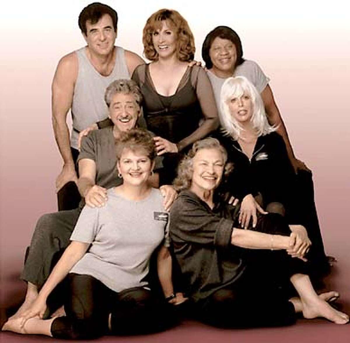 This is the cast of the Silver Foxes pilates tape. from left back row: Tony Tarantino, Stephanie Powers, Christine Johnson; middle row: Sal Pacino, Nikki Robbins; bottom row: Jenny Crawford, Patsy Swayze. HANDOUT