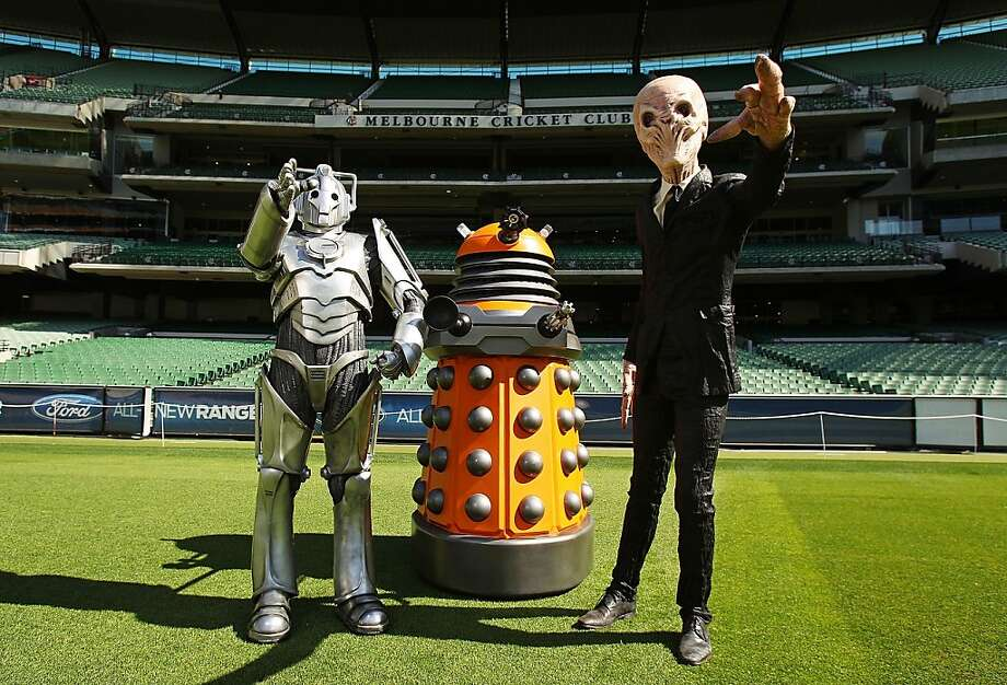 "Pass the salt, please: What sci-fi characters like the Dalek from ""Dr. Who"" (center) have to do with cricket isn't clear, but three of them were seen visiting the Melbourne Cricket Ground in Australia. Photo: Scott Barbour, Getty Images For BBC Worldwide"