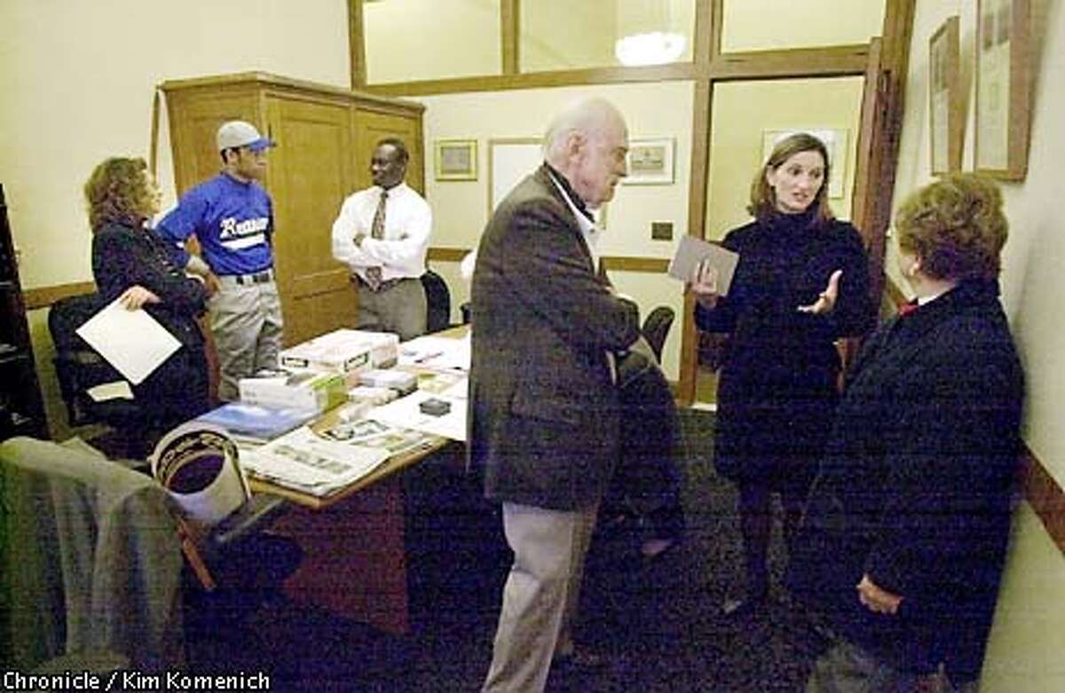 FILE--The City's time capsule committee meets to select items for the hundred-year hibernation. L to R, City Archivist Susan Goldstein, Myron Howard-Johnson, chair of the SF Youth Association, Yomi Agunbiade, acting director of the city architect's office. Hansen died last Sunday of the infirmities of old age. She was 91.
