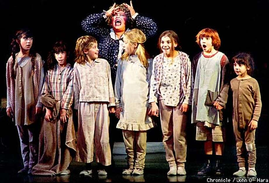 San Francisco, Golden Gate Theater.  Miss Hannigan (Sally Struthers) Center. Annie (Brittny Kissinger) second from right. And other orphans.  Photo by.............John O'Hara  NOTE: I was required to leave after three scenes! Photo: John O'Hara