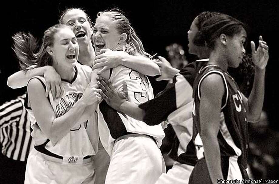 The Oakland Tribune Basketball Tournament. California vs. Colorado State. California wins. Cal Players l tp r- 33-Paige Bowie, Jennie Leander and 31- Lauren Ashbaugh celebrate the victory as Colorado's 40- Erin Erickson walks by. by Michael Macor Photo: MICHAEL MACOR