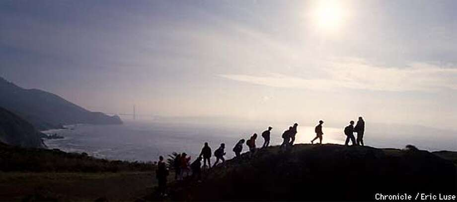 Group of students from Vallemar Middle School. Pacifica climb a hill at Pt. Bonita, Marin Headlands as part of a YMCA camp. BY ERIC LUSE/THE CHRONICLE Photo: ERIC LUSE
