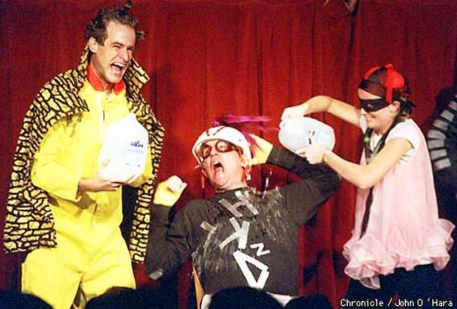 The Upright Citizens Brigade perform a skit at the Punch Line, 444 Battery Street, SF. (L-R) Matt Besser, Matt Walsh and Amy Poehler. CONFIRM IDS!  BY JOHN O'HARA/THE CHRONICLE Photo: JOHN O'HARA