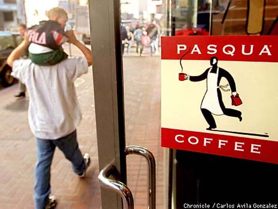 Pedestrians walk past the Pasqua Coffee store on Fifth Street in San Francisco, Ca., on December 15, 1998, the day that the company, with stores in San Francisco and New York, announced it has been purchased by Seattle-based coffee goliath, Starbucks. BY CARLOS AVILA GONZALEZ/THE CHRONICLE Photo: CARLOS AVILA GONZALEZ