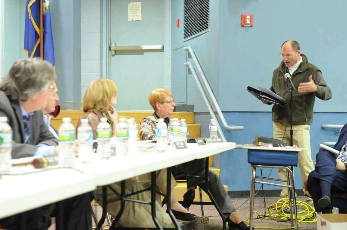Rippowam's PT council representative Bruce Allen addresses the Board of Education during a public hearing on the education budget at Westover Elementary School in Stamford, Conn., February 2, 2012.