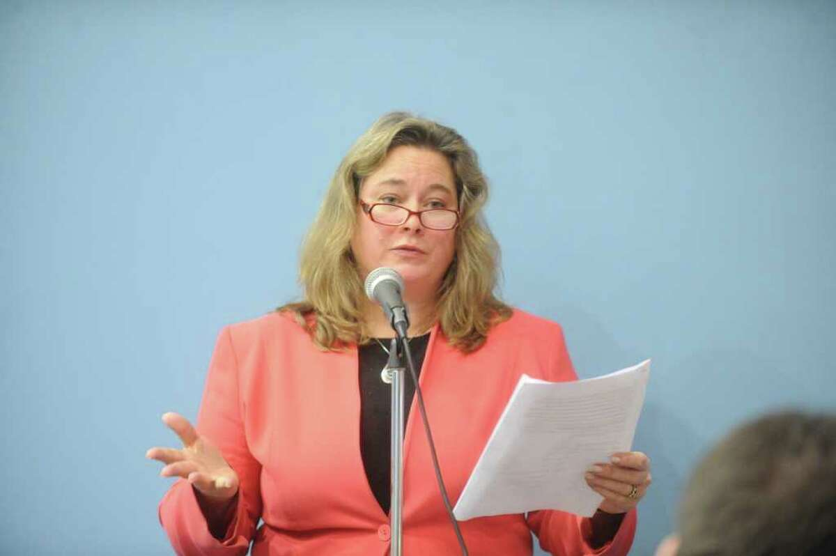 Rippowam's PTO co-President Susan Webb addresses the Board of Education during a public hearing on the education budget at Westover Elementary School in Stamford, Conn., February 2, 2012.