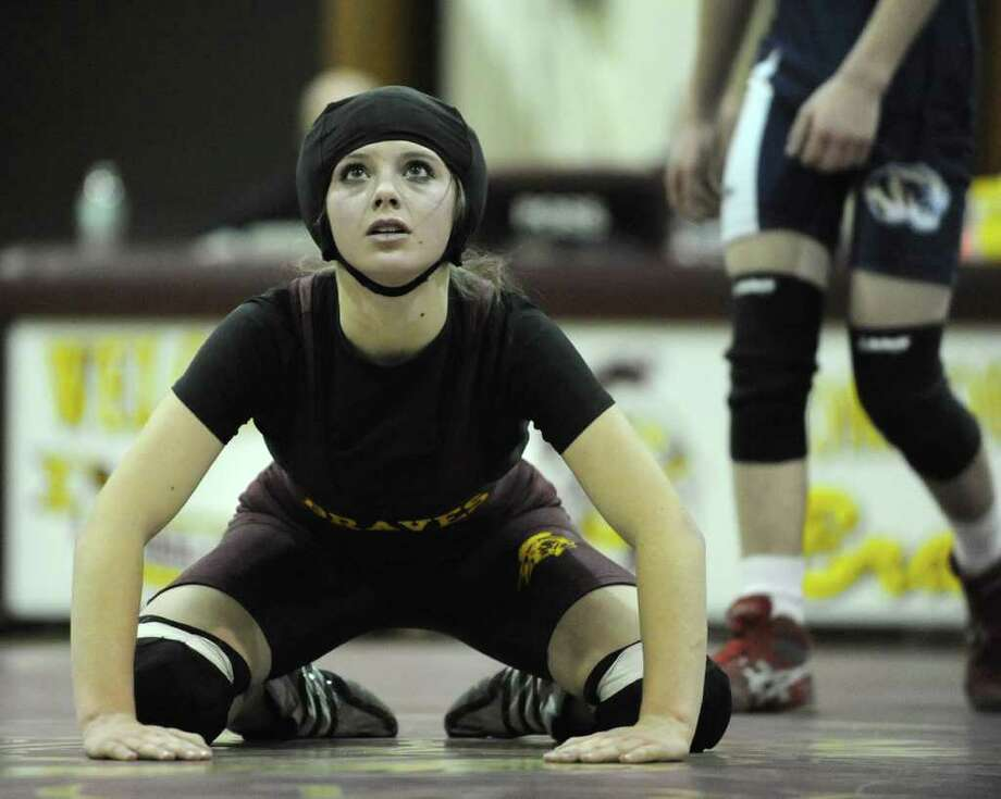 Fonda wrestler Kelsey Gray gets ready to wrestle against Sam Hill of Cohoes during a match on Wednesday, Jan. 4, 2012 in Fonda, N.Y. (Lori Van Buren / Times Union) Photo: Lori Van Buren / 10015988A
