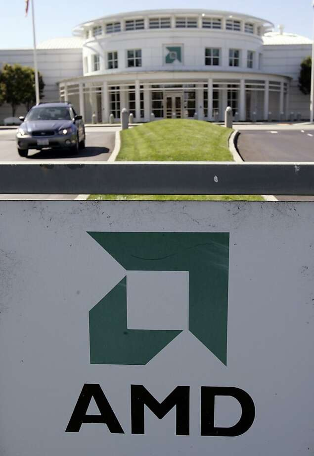 **FILE**In this Oct. 18, 2006 file photo, the exterior view of Advanced Micro Devices (AMD) headquarters in Santa Clara, Calif., is shown. Advanced Micro Devices Inc. says it pared its fourth-quarter loss, but not as sharply as Wall Street had hoped. (AP Photo/Paul Sakuma, file) Photo: Paul Sakuma, AP