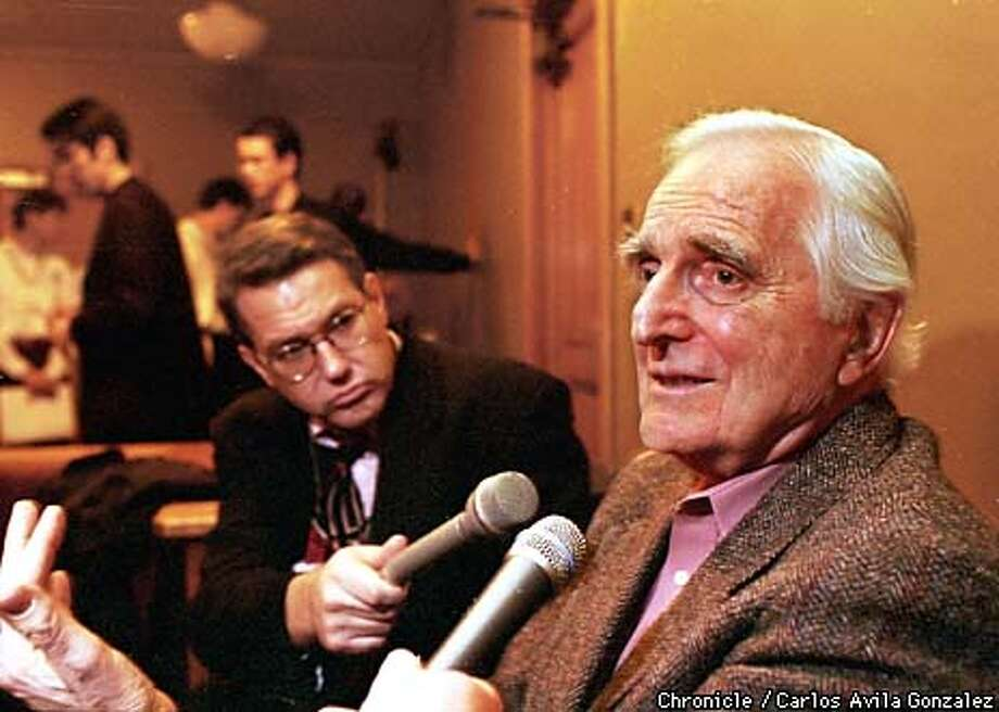 Doug Engelbart, creator of the computer mouse, speaks with the media at a symposium celebrating the 30th anniversary of the creation of the computer device, on Wednesday, December 9, 1998, at Stanford University. (CHRONICLE PHOTO BY CARLOS AVILA GONZALEZ) Photo: CARLOS AVILA GONZALEZ
