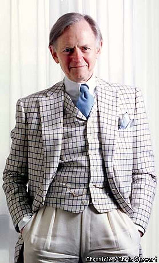 "Author Tom Wolfe, photographed at the Stanford Court Hotel, 905 California Street, SF. Wolfe is doing a publicity tour to promote his latest book, ""A Man in full.""  BY THE CHRONICLE Photo: CHRIS STEWART"